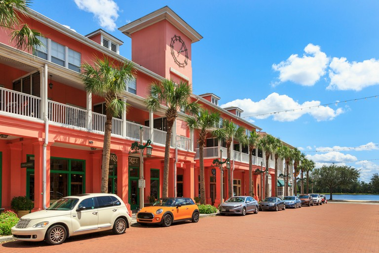 Shops, offices and apartments in Market Street, Celebration, Orlando, Florida, USA