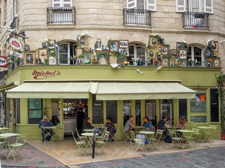 BORDEAUX, FRANCE:  Le Michel's, a Pretty Cafe Bistro in Rue du Pas-Saint-Georges opposite Place Camille Jullian Square