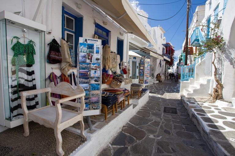 Souvenir shops at Mykonos-town, Mykonos island, Cyclades, Aegean, Greece