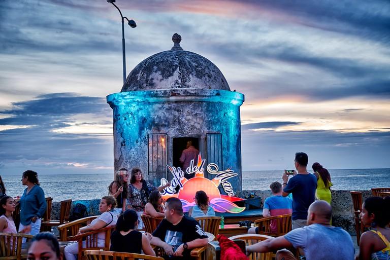 KJX0X6 sunset at Cafe del Mar, Cartagena de Indias, Colombia, South America