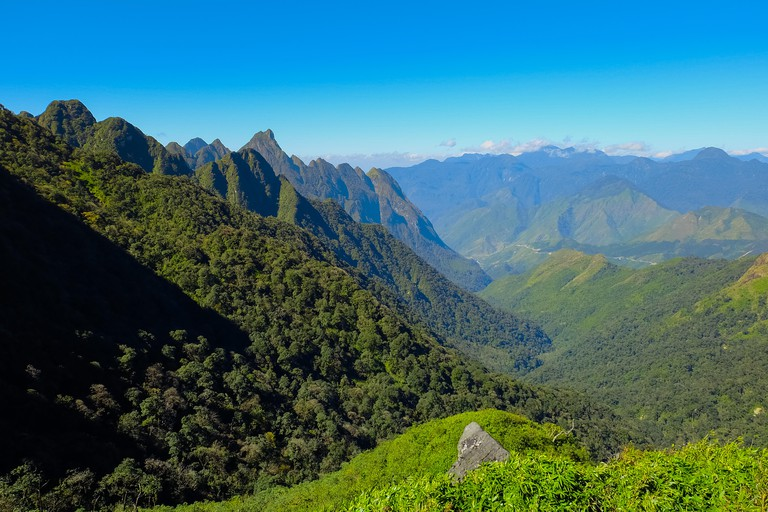 The summit beautiful landscape of Fansipan or Phan Xi Pang mountain the highest mountain in Indochina at Sapa Vietnam