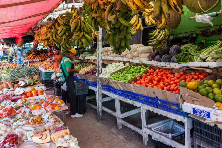 Fruit and Vegetable seller in Market 23, Cancun, Yucatan Peninsula, Mexico