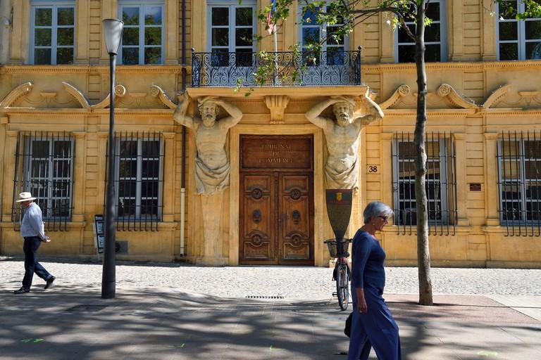 M13XGR France, Bouches du Rhone, Aix en Provence, Cours Mirabeau, Maurel de Ponteves Mansion house of the middle of the 17th century, atlantes