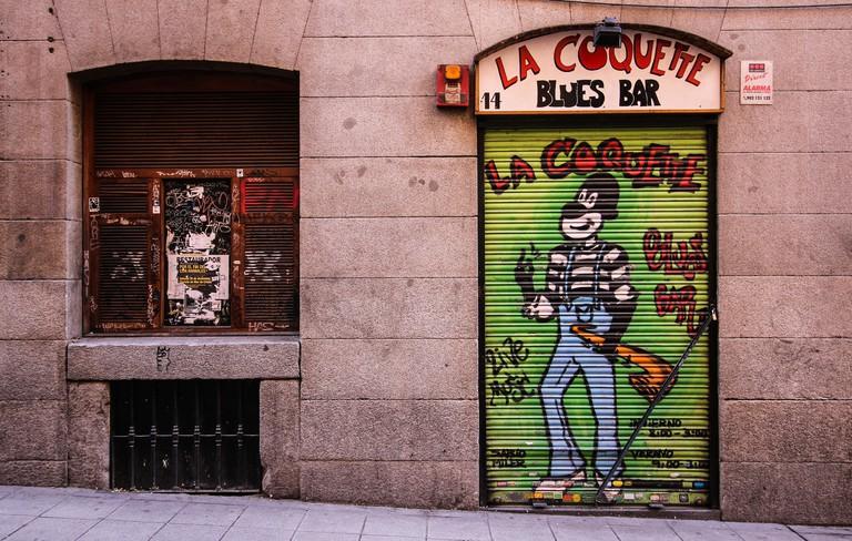 Exterior of La Coquette Jazz and Blues Bar Calle de Hileras Madrid Spain