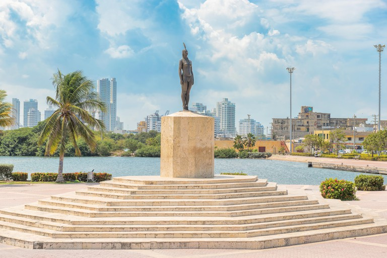 MPE0GN Cartagena, Colombia - March 27, 2017: The monument to India Catalina. India Catalina born in 1495 she was an indigenous woman and the daughter of the