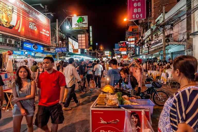 Khaosan Road or Khao San Road at night, Bangkok, Thailand