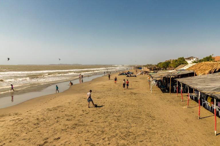 A typical view of la boquilla beach near Cartagena Colombia