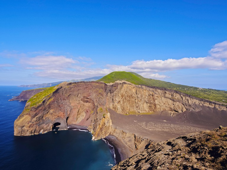 Portugal, Azores, Faial, Ponta dos Capelinhos, View of the Capelinhos Volcano.