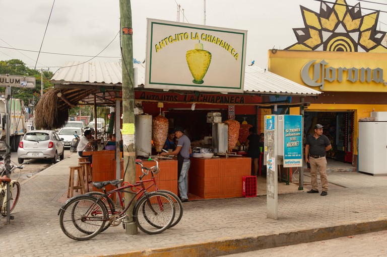 Tulum, Mexico - 8 August 2018: Antojitos la Chiapaneca restaurant is famous for its tacos al pastor and its traditional mexican food.