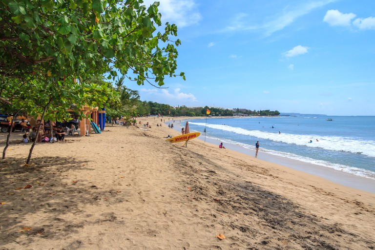 The main beach in Kuta, which is popular with surfers