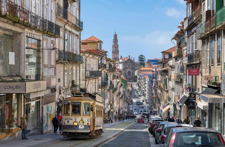 Tram 22 on Rua de 31 de Janeiro in the city centre, Porto, Portugal