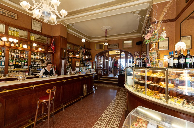 Italy cafe - Interior of Caffe Poliziano, said to be the most beautiful cafe in Tuscany; Montepulciano, Tuscany Italy Europe