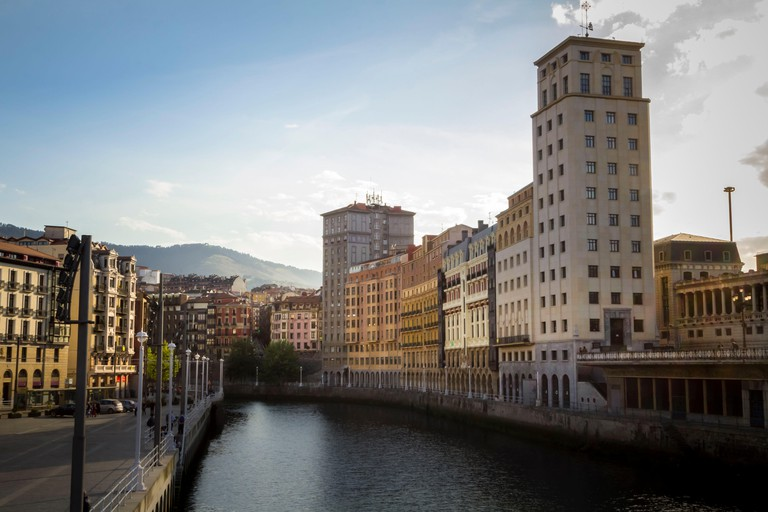 View from the bridge towards old town in Bilbao, Basque Country, Spain, Europe