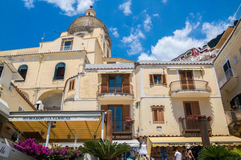 Ristorante La Cambusa, Positano Italy, Classic Italian Buidling Facade, Iron Balcony, cream stone, italian concept, travel, travelling concept hotel