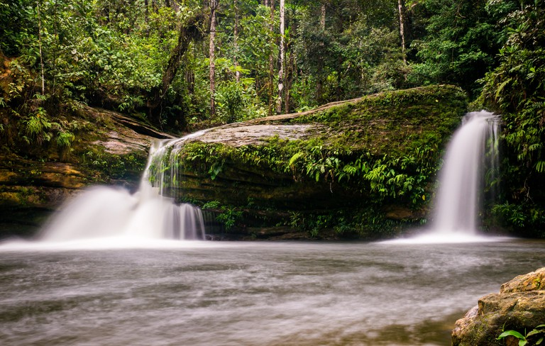 Small waterfall at Fin del Mundo Waterfall in Mocoa, Southern Colombia: This waterfall is part of the Fin del Mundo cascades which translates to End o