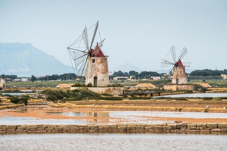 Windmill Marsala, Sicily, Italy, Europe.