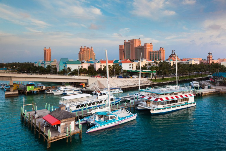 Bahamas, New Providence Island, Nassau, Potters Cay boat harbor and Atlantis Hotel and Casino