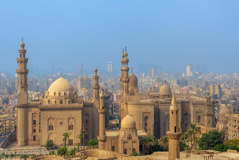 Aerial view of Old Cairo city from Salah Al Deen Citadel (Cairo Citadel) with Al Sultan Hassan and Al Rifai Mosques, Cairo, Egypt