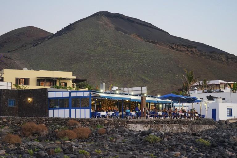 El Golfo, Restaurant, Vulkankegel, Lanzarote, Kanarische Inseln, Spanien