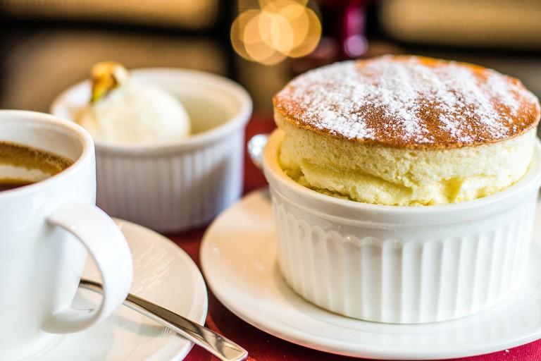 Grand Marnier Souffle with Vanilla Ice Cream