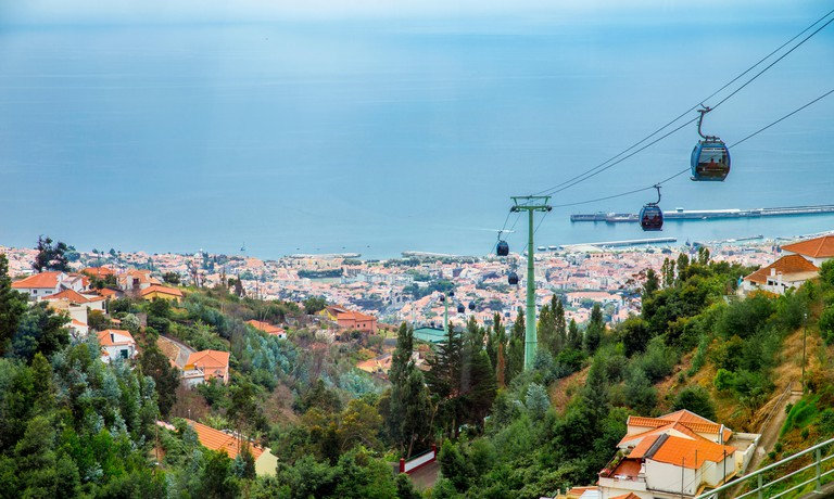 Funchal,Madeira/Portugal. 09.05.2018: Teleferico do Funchal cable car from Funchal to Monte palace Tropical Garden.