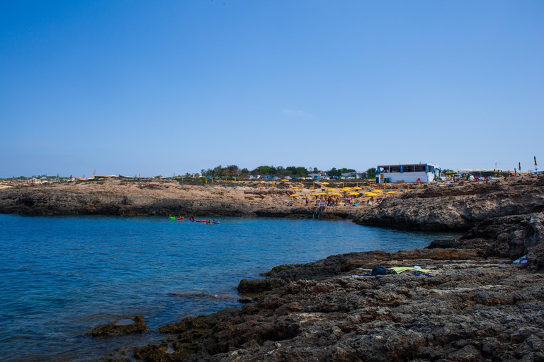 View of Cala Croce beach in Lampedusa, Sicily. Italy