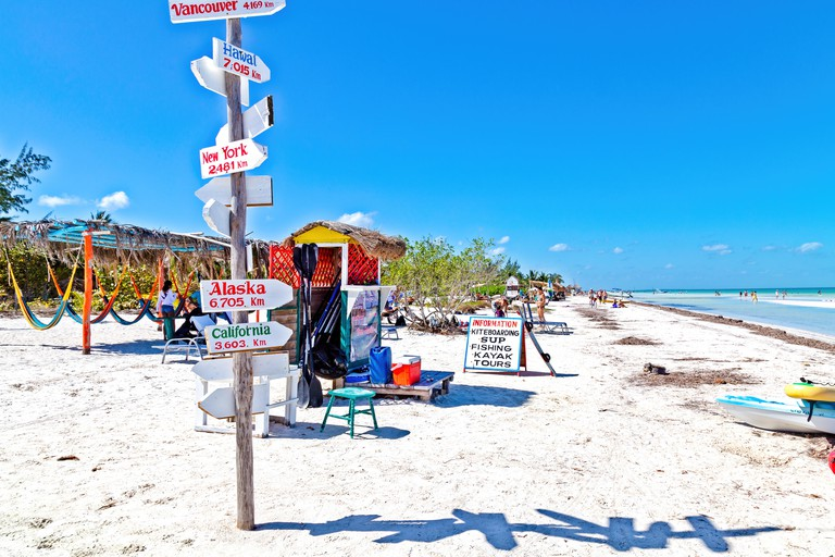 T4835T Signpost showing different locations on the beach, Isla Holbox, Mexico