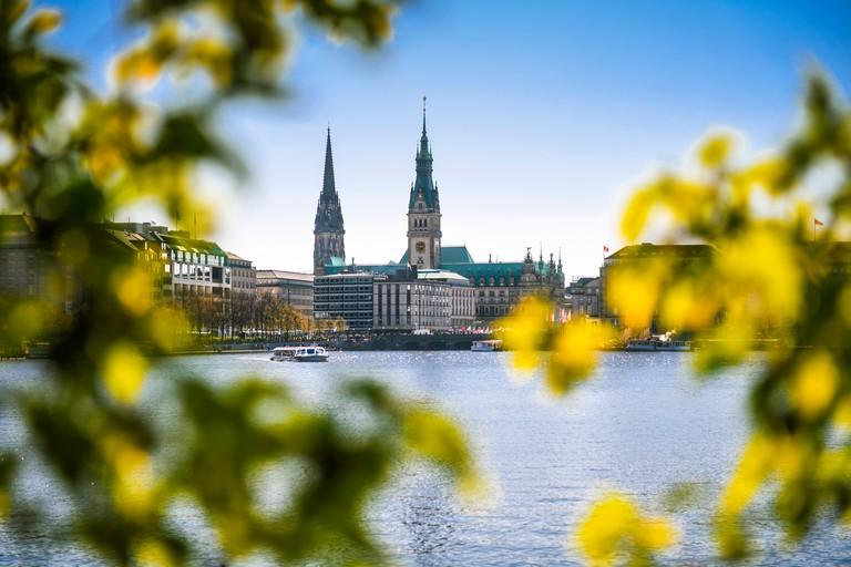 Inner Alster Lake in Hamburg, Germany, Europe