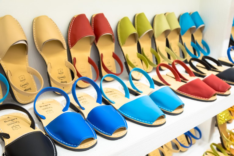 Shopping for Avarca (Menorca sandals). Image shot 10/2018. Exact date unknown.