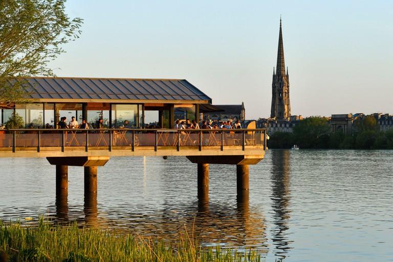 France, Gironde, Bordeaux, area listed as World Heritage by UNESCO, the banks of Garonne river, Quai des Queyries, L'Estacade restaurant and Saint Mic