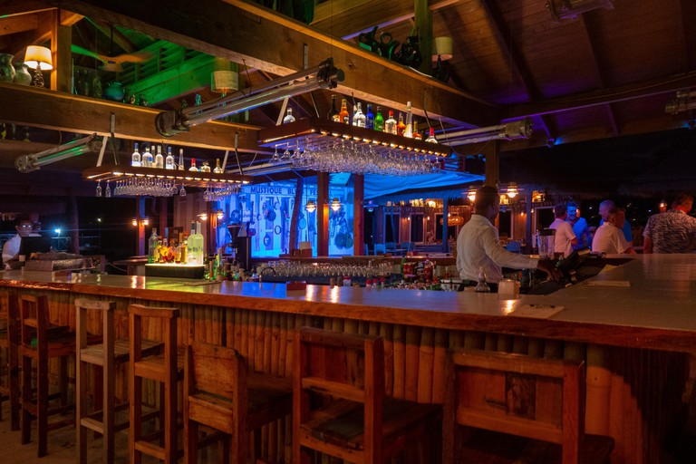 Refurbished Bar and Dance floor at Basil's Bar Mustique, 2019. It's a Caribbean restaurant and venue for the Mustique Blues Festival. Used by all
