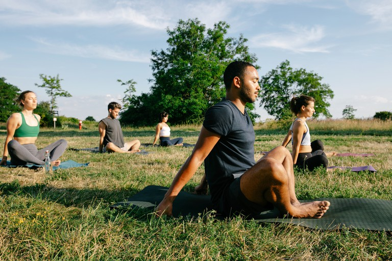 Outdoor Yoga Class With Social Distancing