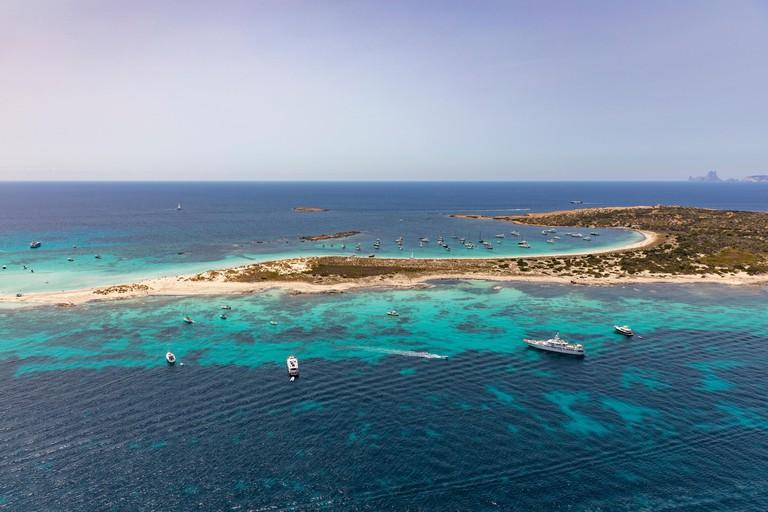 formentera, beautiful sea of baleares islands, aerial view