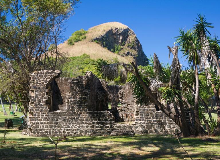 Historic military ruins below Signal Peak, Pigeon Island National Landmark, Gros Islet, St. Lucia, Windward Islands, Lesser Antilles, West Indies