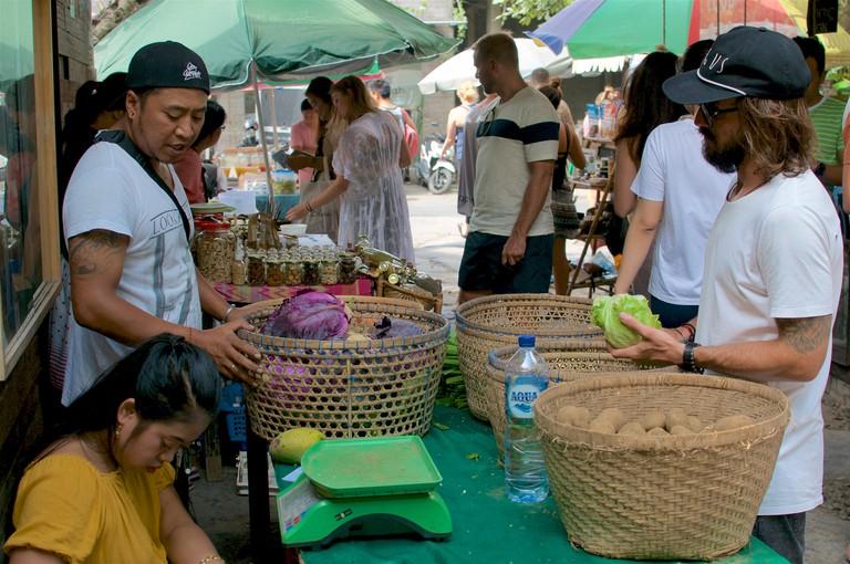Canggu, Bali, Indonesia - 9th June 2019 : View of the Organic food market held at every sunday at Samadi in Canggu, Bali - Indonesia