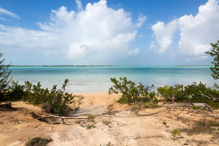 Scenic beach on Picturesque Lane is a at the entrance to the Chalk Sound area of Provo island in Turks and Caicos.