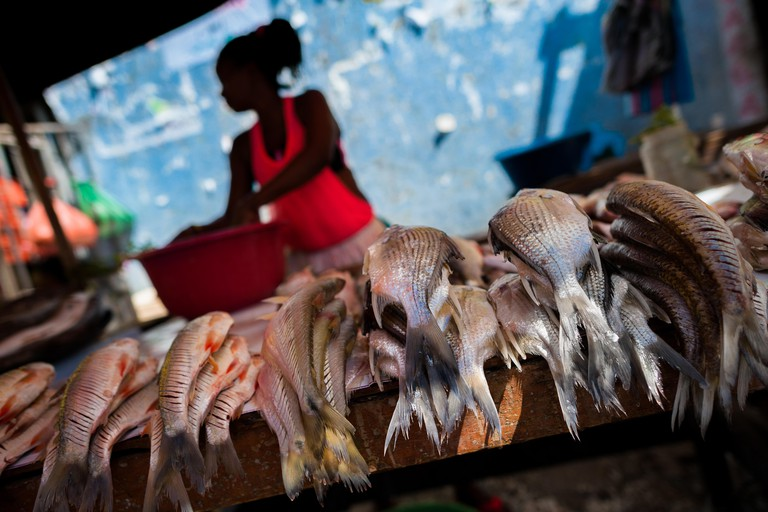 WB8AK0 An Afro-Colombian woman sells fresh fish in the market of Bazurto in Cartagena, Colombia.