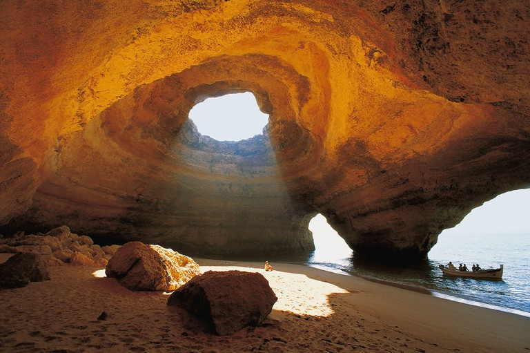 """Wind and waves have left impressive traces in the beach cave """"O Algar"""" near Bengali. (undated picture)   usage worldwide"""