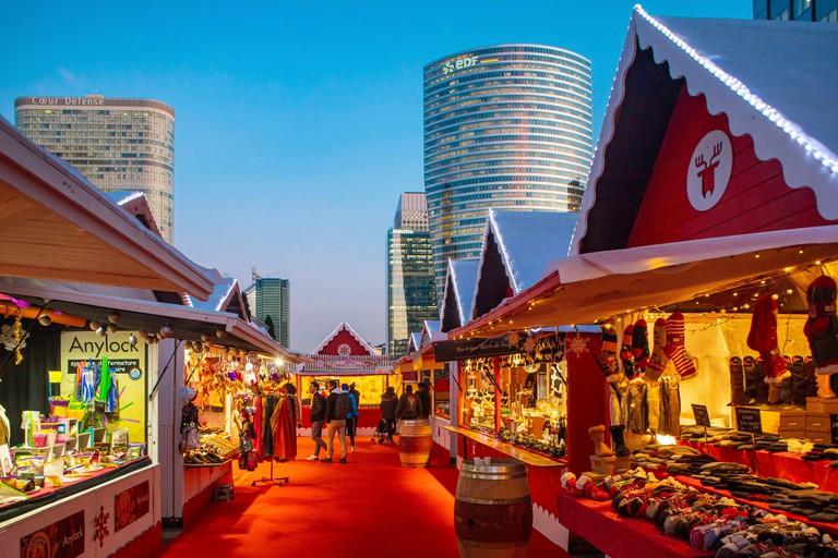 France, Hauts de Seine, La Defense, business district, Christmas market