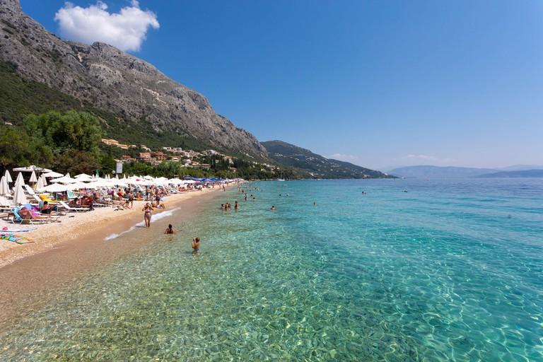 People swimming at Barbati Beach, Corfu