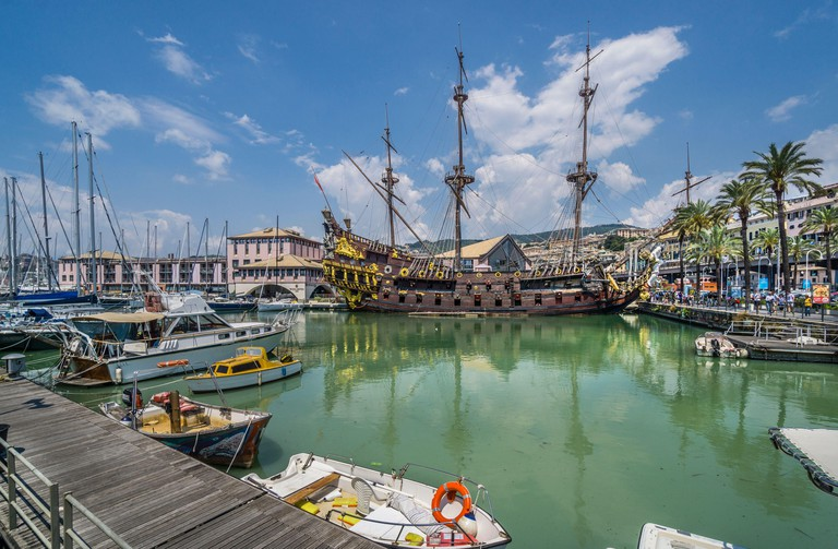 """galeon """"Neptune"""", a replica of a 17th-century Spanish galleon, built for the 1985 film """"Pirates"""" moored in the Old Harbour of Genoa, Liguria, Italy"""
