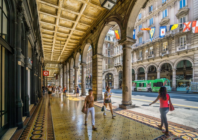 Via XX Settembre, major arcaded shopping and promenading street of the Genoese and lined by representative buildings from the period, especially some