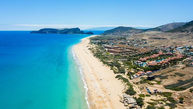 2C1A531 Aerial view of Porto Santo island island beach