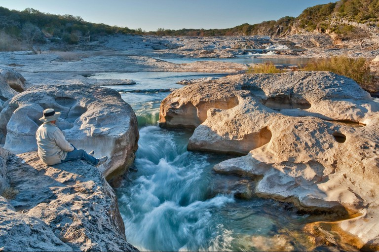 Channel of Pedernales River at Pedernales Falls State Park, Hill Country, Texas, USA