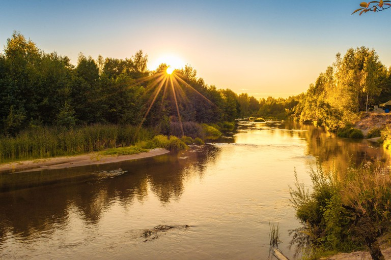 small forest river at sunset in autumn. beautiful landscape, sunset on the river. Golden sunset at the River.