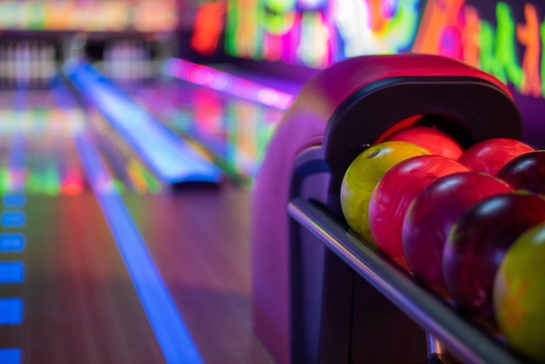 Close up shot of balls in bowling alley