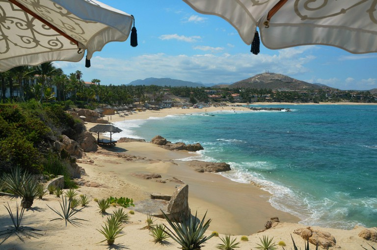 Scenic landscape with view of Playa Palmilla in San Jose del Cabo, Mexico.