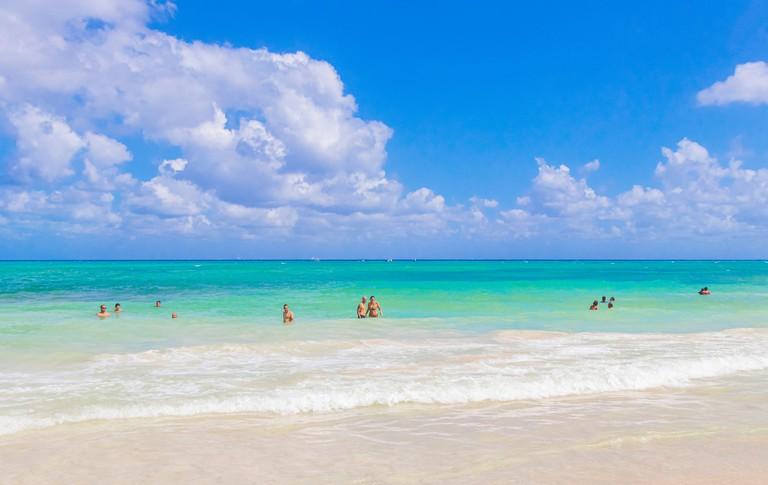2F6846X Tropical mexican beach 88 Punta Esmeralda in Playa del Carmen Mexico.