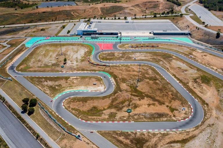 Portimao, Algarve, Portugal - May 2021 - Aerial drone view over karting racing track near Algarve International Circuit.