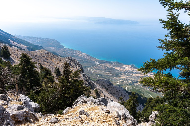 Panoramic view over Kefalonia island from the mountain top Mount Ainos